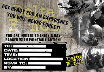 paintball invitations delta Force